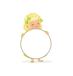 lovely blonde girl character with white circle vector image