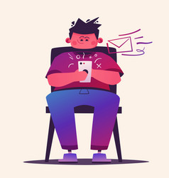 man hold smartphone cartoon vector image