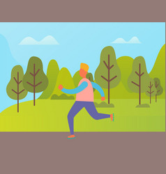 man jogging in green city park character vector image