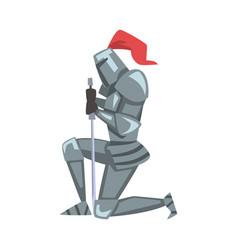Medieval kneeling knight chivalry warrior vector