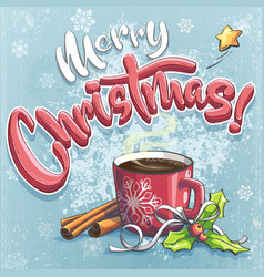 merry christmas with a cup coffee vector image