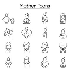 mother super mom icon set in thin line style vector image