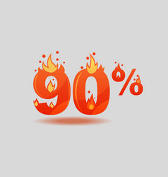 Ninety percent discount numbers on fire vector