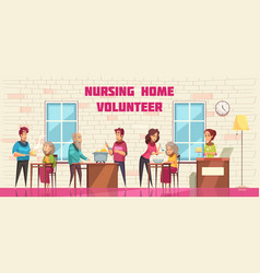 nursing home volunteers banner vector image