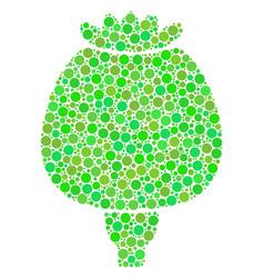 Opium poppy mosaic of dots vector