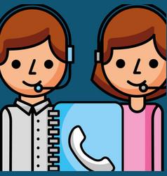 people staff working address book customer service vector image