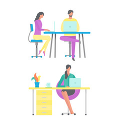 people working in office woman at home freelancer vector image