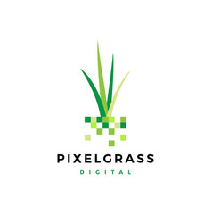 Pixel grass root logo icon vector