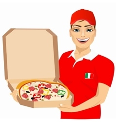 pizza delivery courier in red uniform vector image