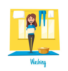 poster of woman and laundry washing vector image