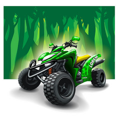 Quad bike on forest background vector