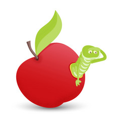 red apple with green leaves and cartoon worm vector image