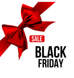 red bow with ribbon and black friday sale text vector image