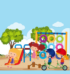 scene with many kids playing in park vector image