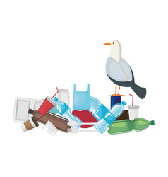 Seagull with plastic and disposables products vector