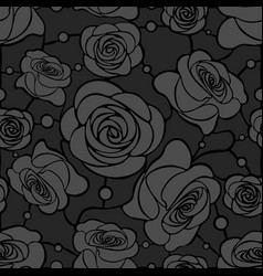 Seamless floral mosaic pattern with gray roses on vector