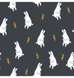 Seamless floral pattern with rabbit and carrot vector