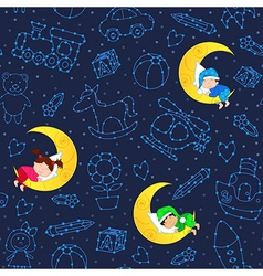 Seamless pattern with children sleeping on moon vector