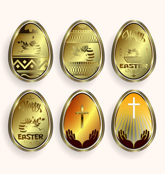 set of golden easter eggs with border vector image