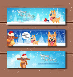 set of happy new year horizontal banners with cute vector image
