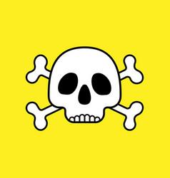 Skull with bones on yellow vector
