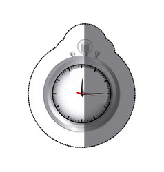 sticker realistc silver stopwatch graphic vector image
