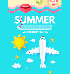 summer vacation layout design template with plane vector image