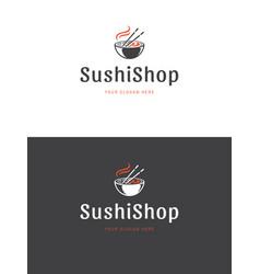 Sushi restaurant emblem logo template vector