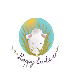 Sweet easter egg lamb in the grass and oval sky vector