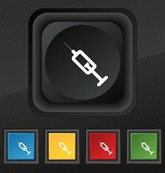syringe icon symbol Set of five colorful stylish vector image