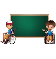 Two boys on wheelchairs by the board vector