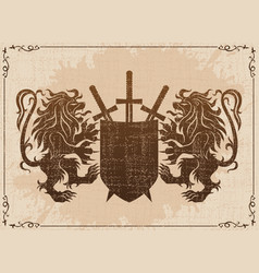 two lions with shield and swords vector image