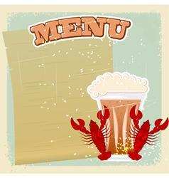 Vintage Beer Crayfish Menu vector image