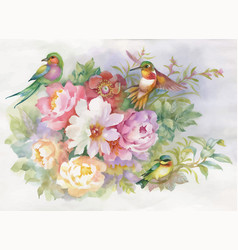 watercolor hand drawn colorful beautiful flower vector image