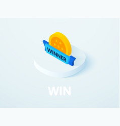 win isometric icon isolated on color background vector image