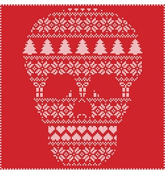 Winter pattern sugar skull on red background vector
