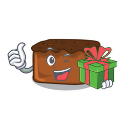 With gift brownies mascot cartoon style vector