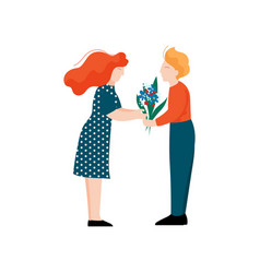 young man giving bouquet of flowers to his vector image