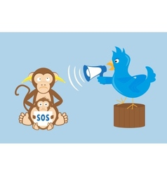 Blue bird is shouting through a megaphone on vector image