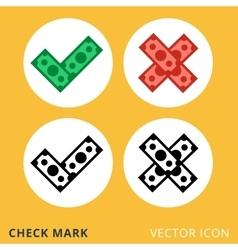 check mark dollar piles flat icon vector image