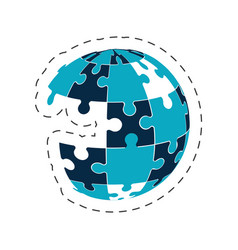 global puzzle solution image vector image