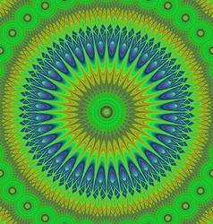 Green oriental mandala fractal design background vector image vector image