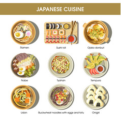 japanese cuisine traditional dishes flat vector image