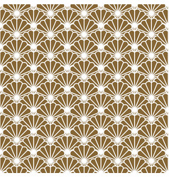 japanese fan seamless pattern in gold line vector image vector image