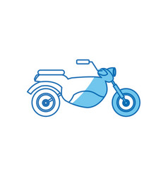 Motorcycle transport hobby vehicle blue line vector