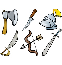 old weapons objects cartoon set vector image vector image