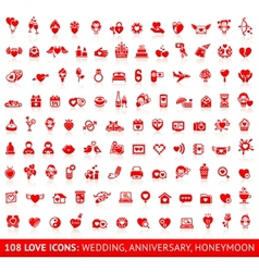 Set love red icons vector image