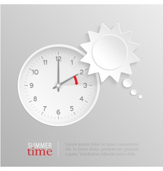 Summer time change clock with sun speech bubble vector