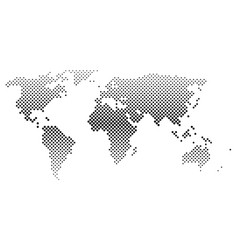 black halftone world map of small dots in diagonal vector image