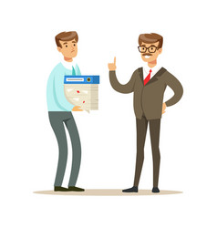 businessman holding a lot of papers in his hands vector image